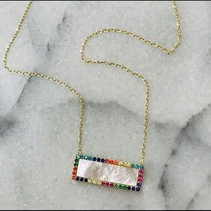 18K Gold Vermeil Mother-of-Pearl Rectangle, NWT
